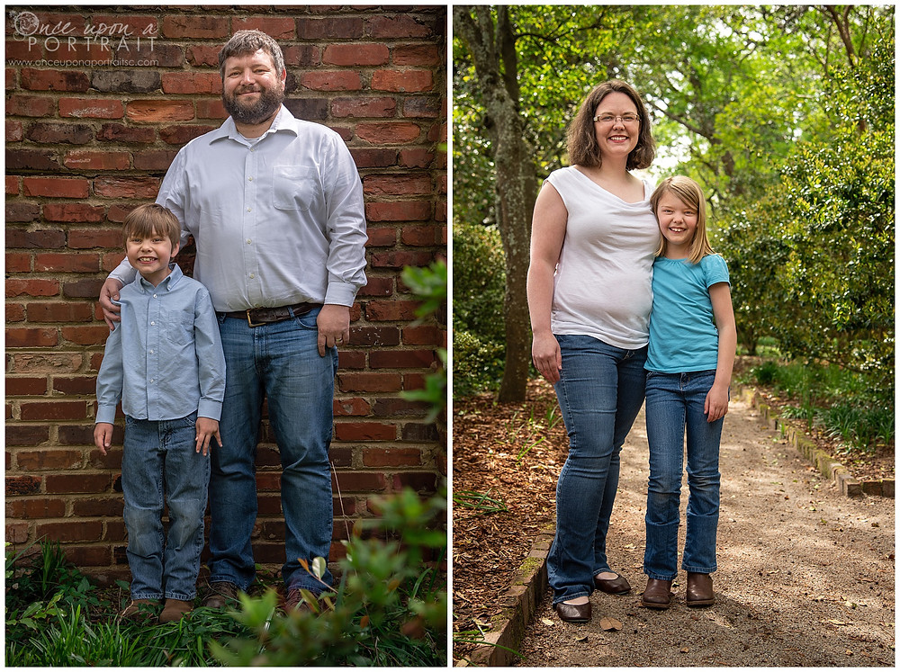 Family session Lace House columbia spring blue green brick wall footpath mom dad son daughter sibling wife father