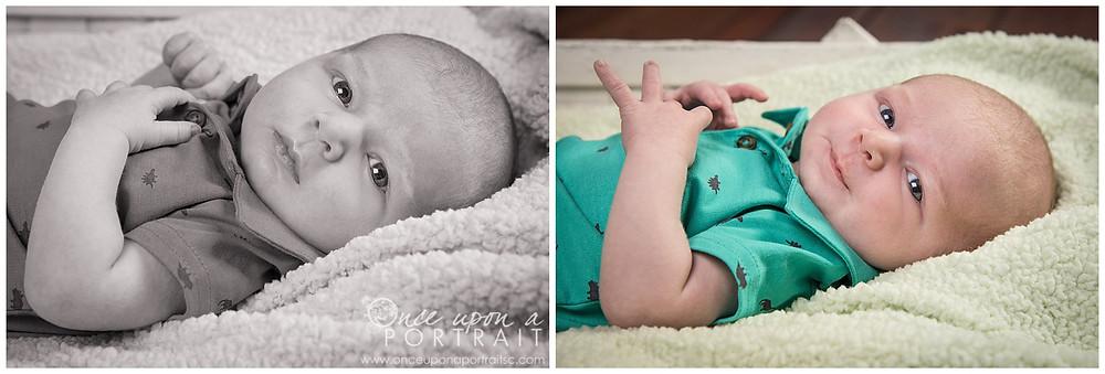 newborn baby boy studio session blue eyes shirt fuzzy soft bassinet smile