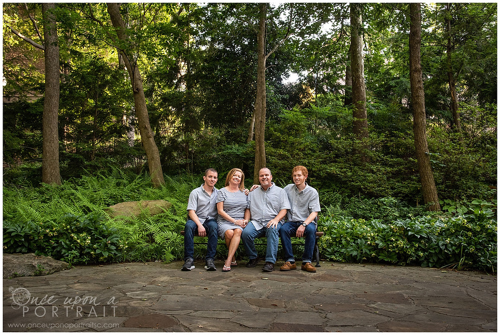 Falls Park family session spring mom dad sons ferns nature