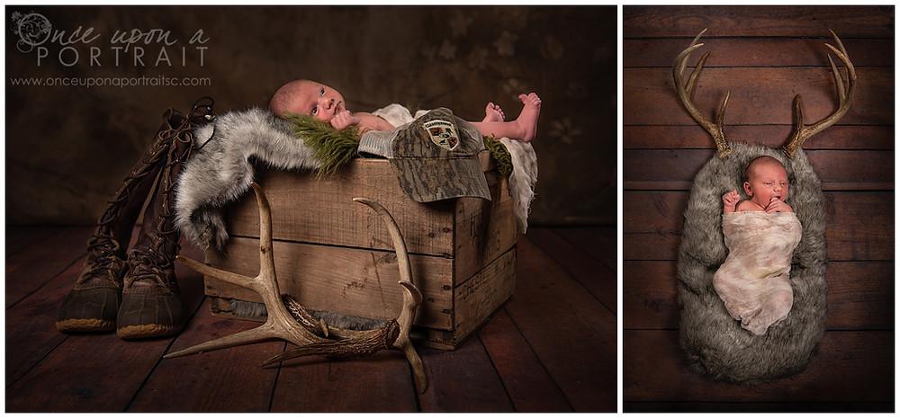 newborn studio simpsonville hunting boots antlers hat duck call baby boy