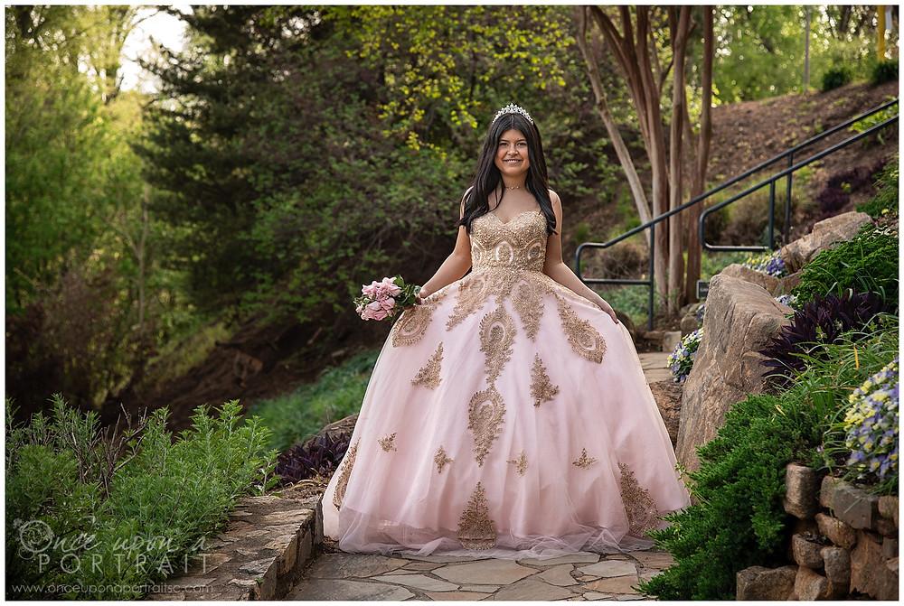 Falls Park Quinceañera 15 sweet sixteen 16 princess ballgown bouquet tiara beautiful pink