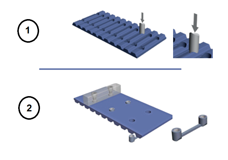 Realizzazione di un foro passante con utensile per punzonatura ATC-PT. Il profilo ATC con fori di punzonatura per gli inserti ATC-IN e il montaggio di un tassello avvitabile