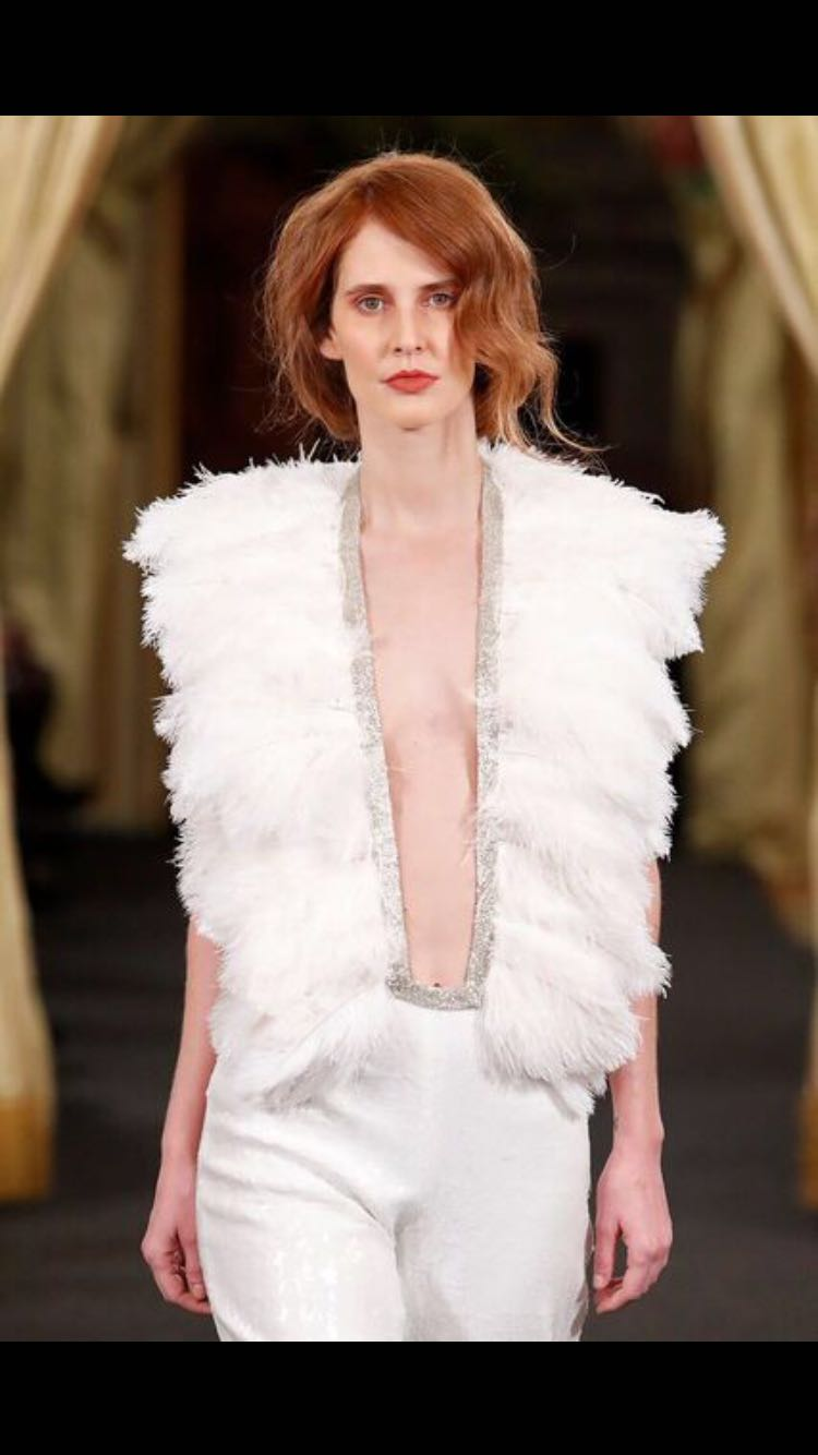 Ostrich feathers vest
