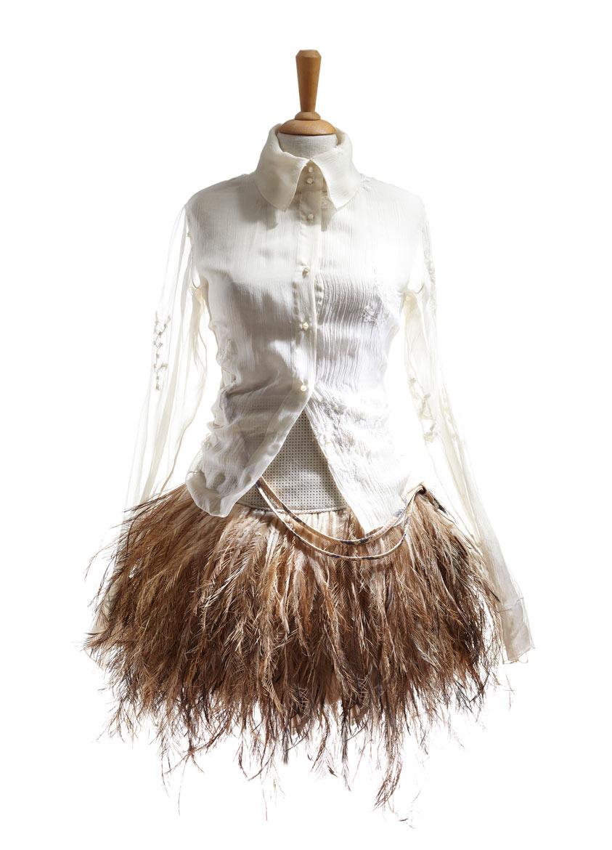 Emu feathers skirt