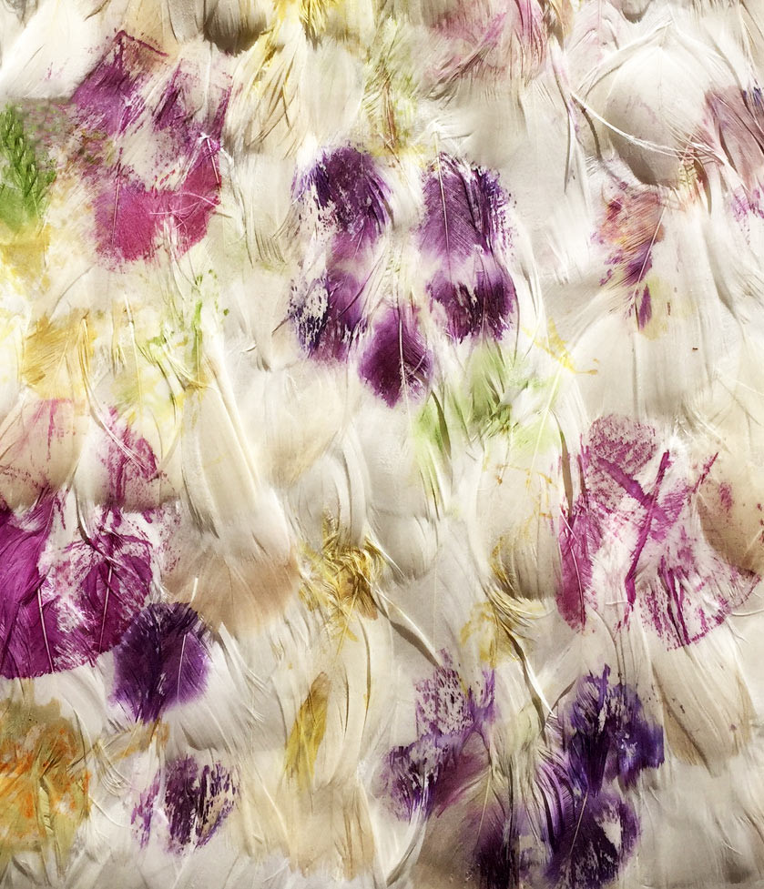 -feather fabric printed natural pigments