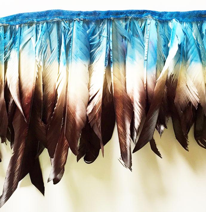3 tone goose feathers fringe
