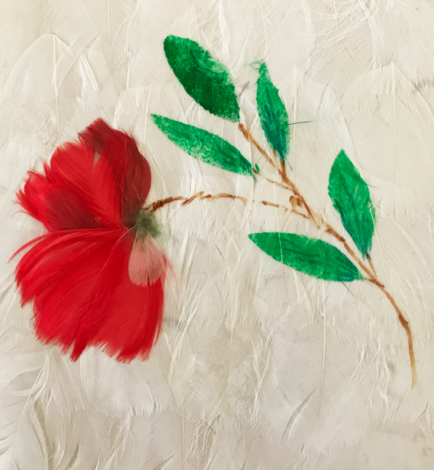 Handpainted flower on feathers