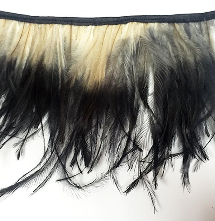 Two tone emu feathers fringe