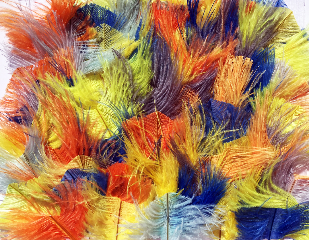 Multicolor ostrich feathers fabric