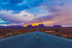 Sunset in the storm at monument valley