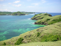 Overview of the lush green Tanjung Aan Bay in Kuta Lombok