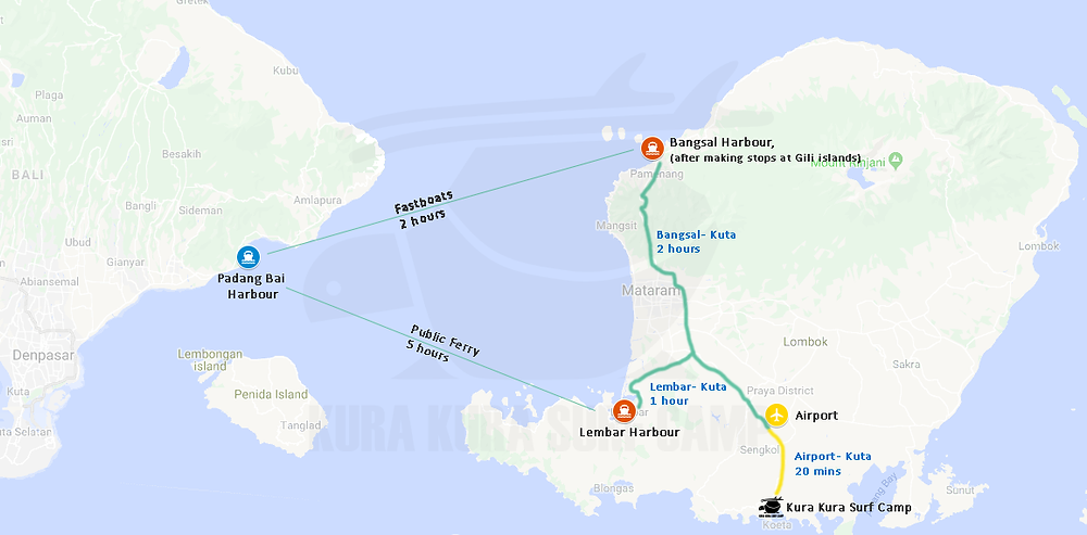 A map illustrates the journey by fast boats and ferry from bali to Kuta lombok