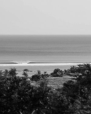 Black and white photo of a perfect A frame wave locted in Areguling, Lombok