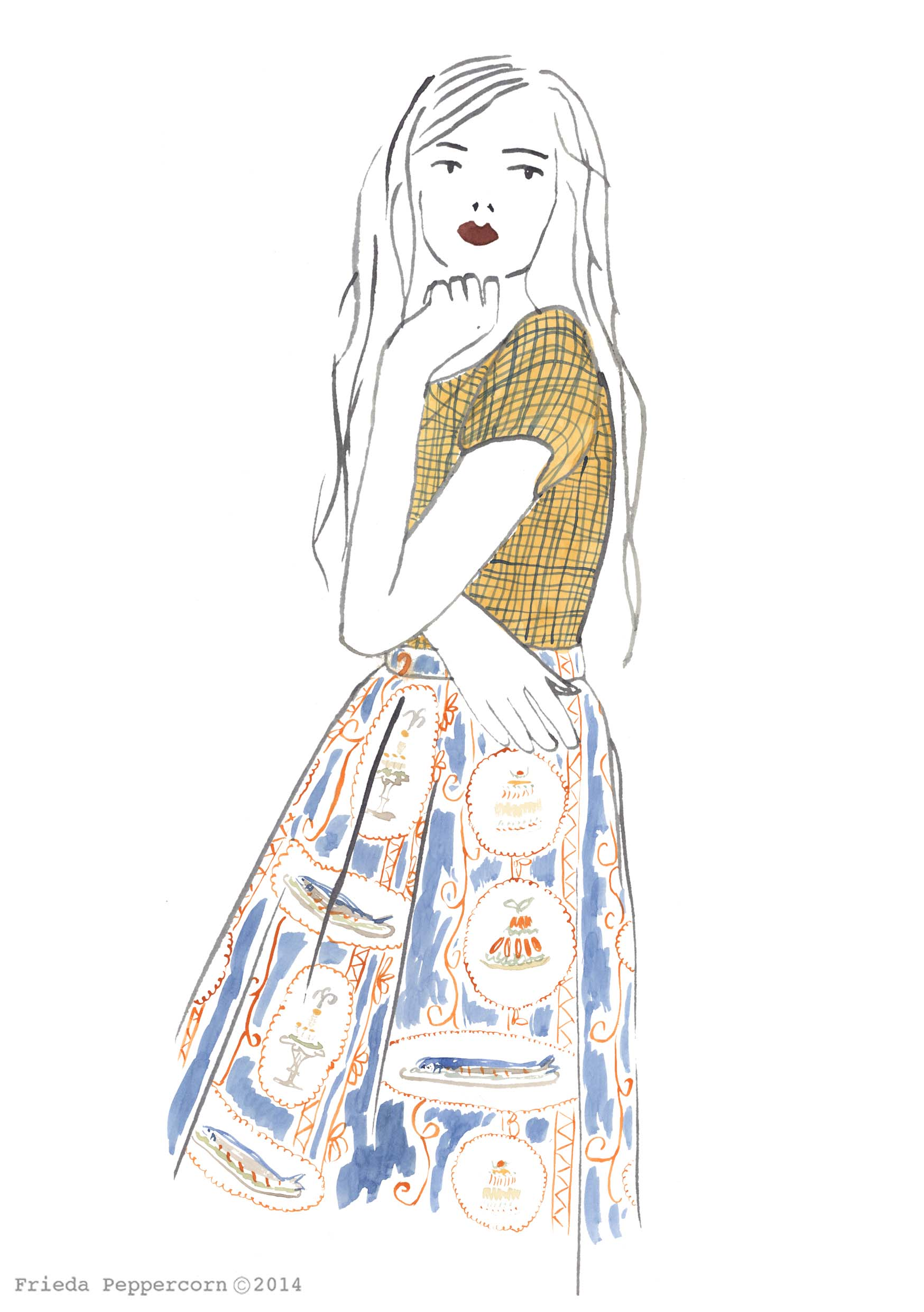 water colour fashion illustration