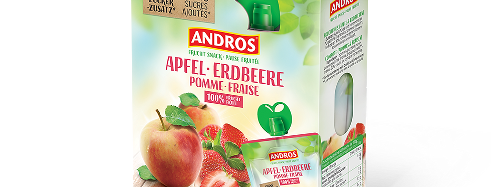 Snack compote pomme fraise Andros 4 x 100g