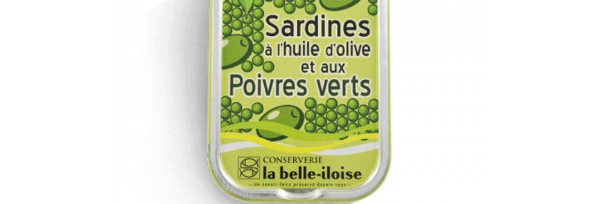 Sardines huile d'olive et poivres verts la belle-iloise 115g