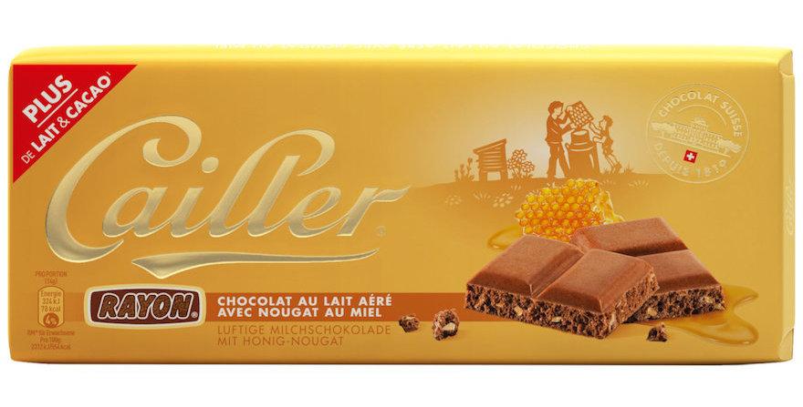 Tablette chocolat lait Rayon nougat au miel Cailler 100g