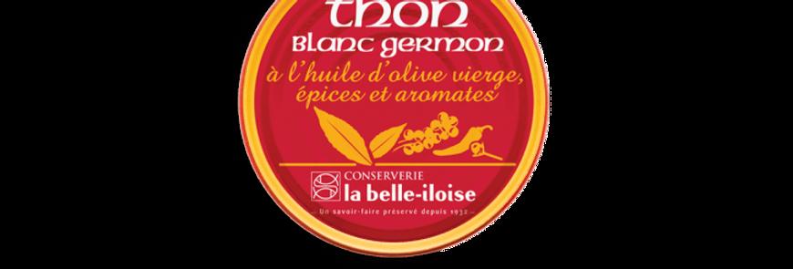 Thon blanc germon à l'huile d'olive, épices et aromates la belle-iloise 160g