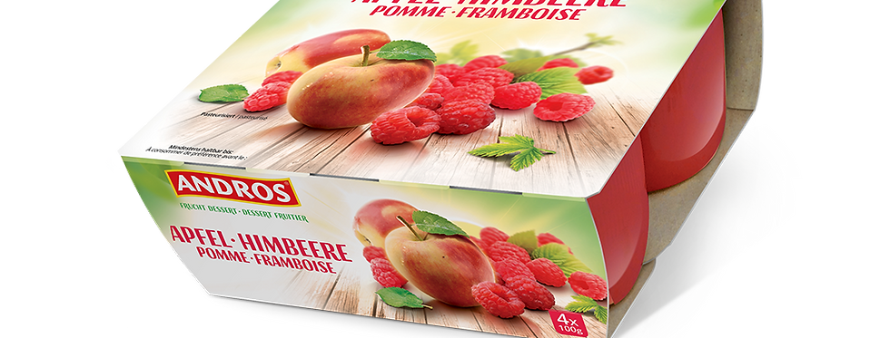 Dessert compote pomme framboise Andros 4 x 100g