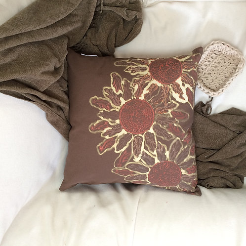 Hand Stamped and Painted Cushion
