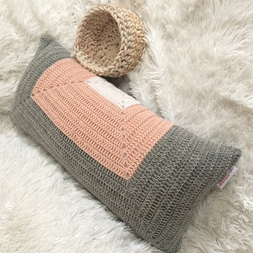 Pink, Light Grey and White Pure Wool Cushion