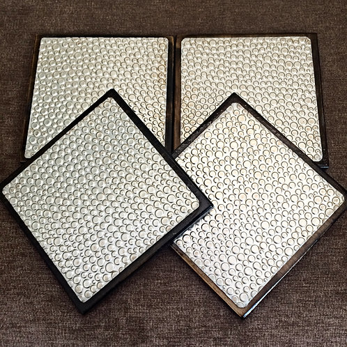 """Set of Four """"Bubble"""" Metal Embossed Coasters"""