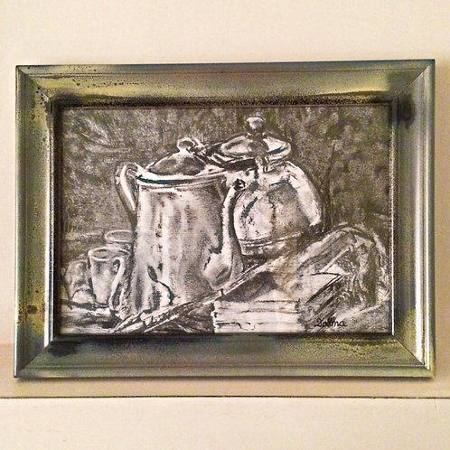 """Tea Time"" Charcoal Drawing"