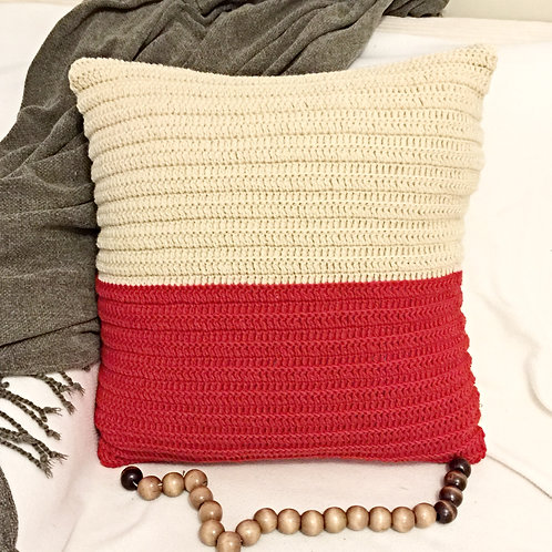 Red and Off-White Pure Wool Crochet Cushion Cover