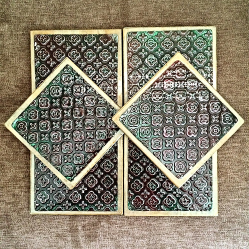 "Six ""Cross&Flower"" Metal Embossed Coasters"