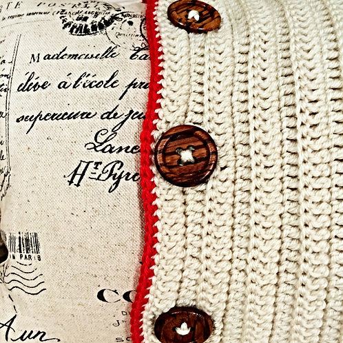 Contemporary Red Crochet Featured Cushion