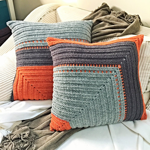 Orange, Dark & Light Grey Pure Wool Cushion Cover