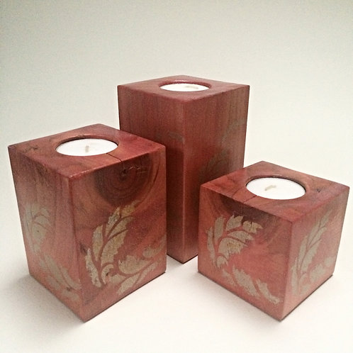 Red/Pink Stencilled Wooden Tea-Light Candle Holder