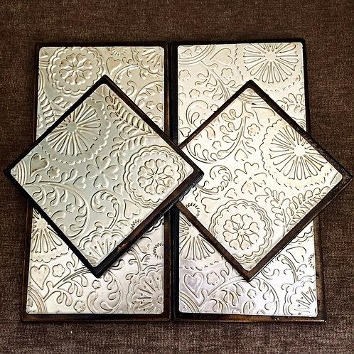 """Set of Six """"Flowers&Heart"""" Metal Embossed Coasters"""