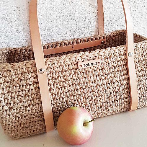 """Sammy"" Jute and Leather Crochet Bag"