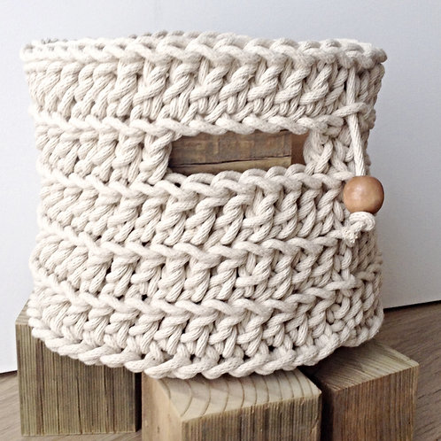 Tall Round Rope Basket with Handles