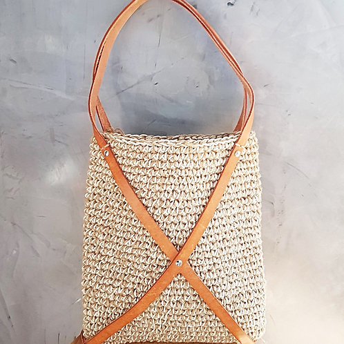 """Tilly"" Jute and Leather Crochet Bag"