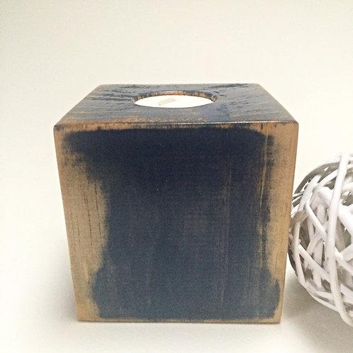 Antique Blue Wooden Tea-Light Candle Holder