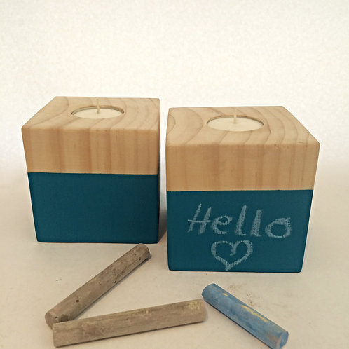 Blue Chalkboard Wooden Tea-Light Candle Holder