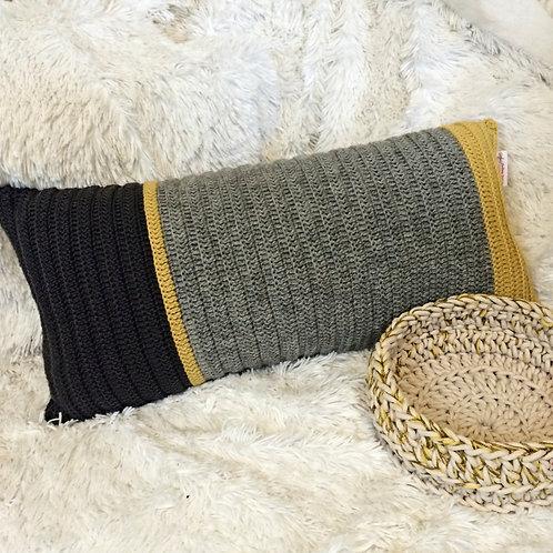 Yellow, Light Grey and Dark Grey Wool Cushion