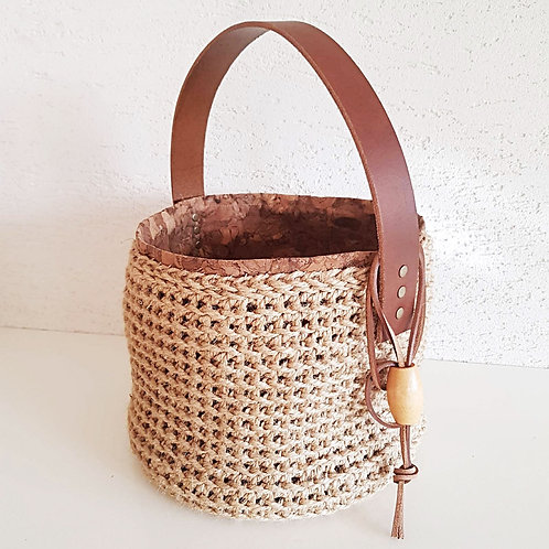 """ Bea"" Jute and Leather Crochet Bucket Bag"