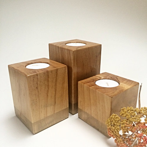 Gold on Gold Wooden Tea-Light Candle Holder