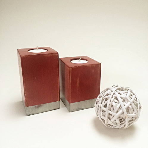 Red/Silver Wooden Tea-Light Candle Holder