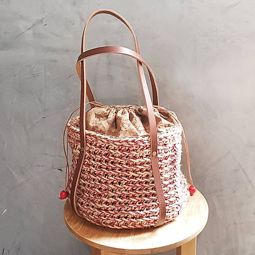 Red Cotton and Jute Crochet Bag