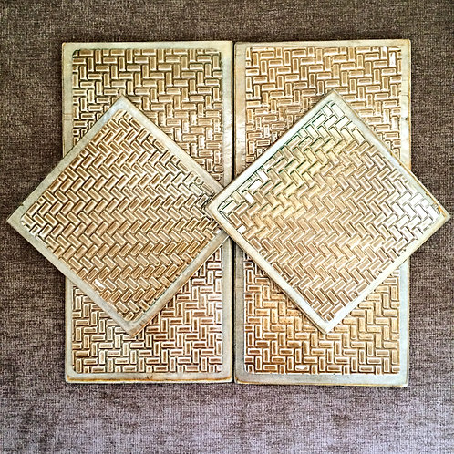 "Six Coloured ""Brick"" Metal Embossed Coasters"