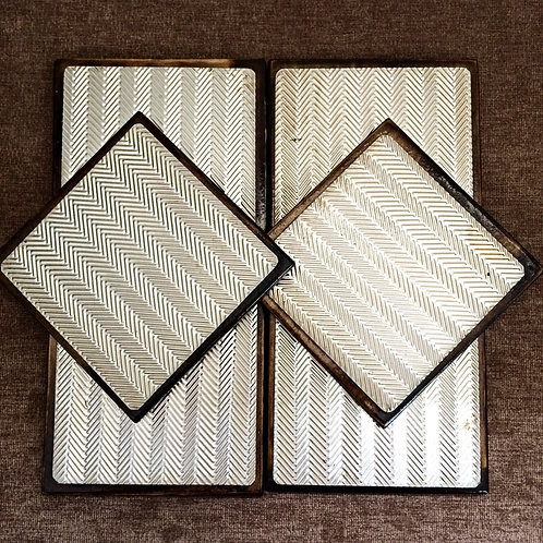 """Set of Six """"Zig-Zag"""" Metal Embossed Coasters"""