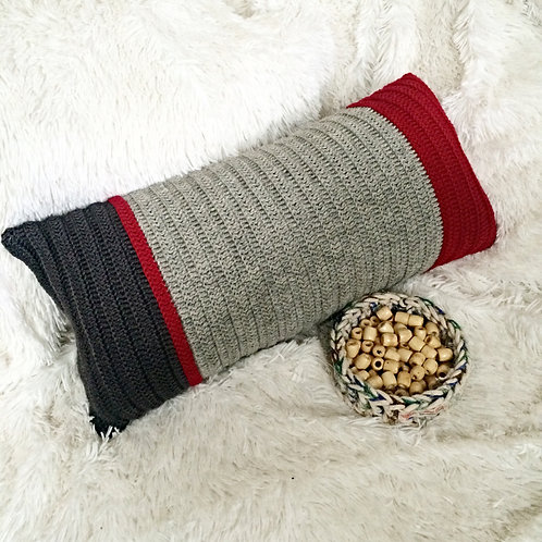 Dark Red, Light Grey and Dark Grey Wool Cushion