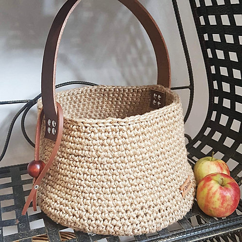"""Sandy"" Jute and Leather Crochet Bag"