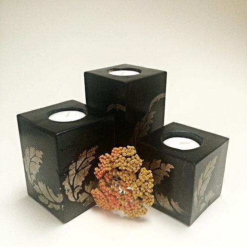 Stencilled Dark Wooden Tea-Light Candle Holder