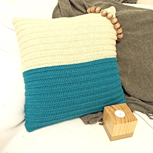Teal and Off-White Pure Wool Crochet Cushion Cover