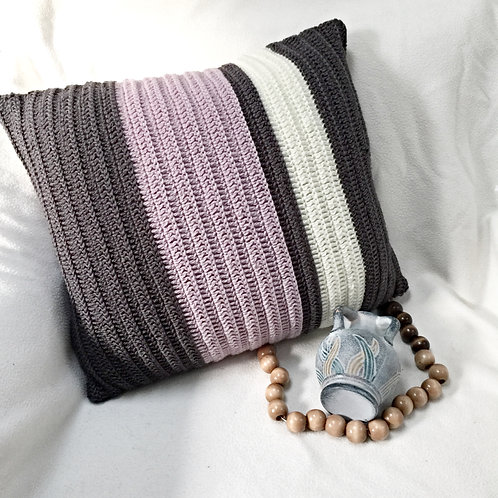 Lavender and Greys Pure Wool Crochet Cushion Cover